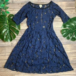 Anthro Blue Leaf Fit & Flare Sheer Dress